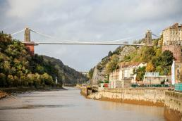 Clifton Suspension Bridge with walkway from Avon Gorge