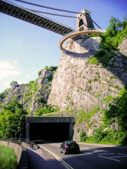 Clifton Suspension Bridge soffit with walkway from Avon Gorge