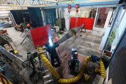 Dinosaur Bridge in workshop welding