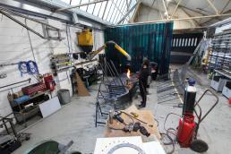 Dinosaur Bridge in workshop folding