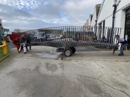 Bridge wheeled out of workshop